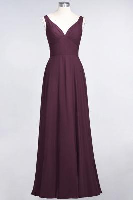 A-line Chiffon V-Neck Straps Summer Ruffles Floor-Length Bridesmaid Dress UK with Open Back_1