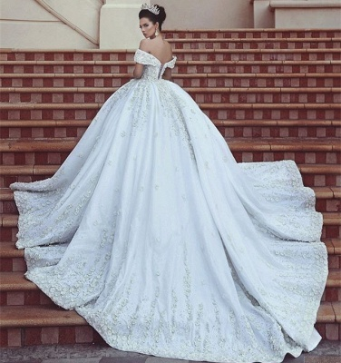 Princess Lace Appliques Wedding Dress with Beads| Off The Shoulder Ball Gown Bride Dress with Long Train_7