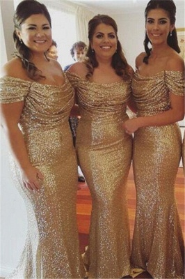 Off The Shoulder Gold Sequins Bridesmaid Dresses Mermaid  Dresses for Maid of Honor BA3186_2