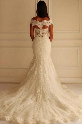 Elegant Off-The-Shoulder Mermaid Lace-Applique Wedding Dresses_3