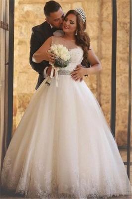 A-Line Crystal Floor Length Bridal Dress Crew Neck Plus Size  Lace Wedding Dresses_2