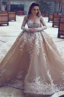 Appliques Ball-Gown Long-Sleeve Beadings Luxurious Wedding Dress_2