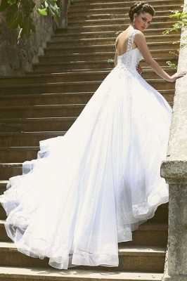 Beautiful Spaghetti Strap Crystal Ball Gown Wedding Dress New Arrival Lace Elegant Bridal Gowns_2