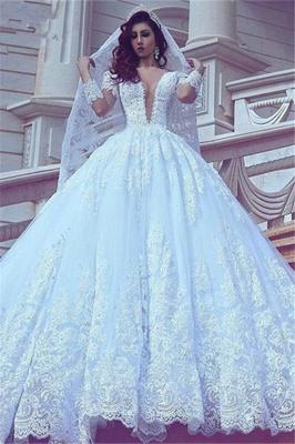 Modest Lace Long-Sleeve Court-Train Ball-Gown V-neck Wedding Dress_2