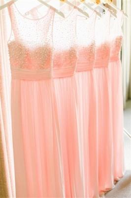 Empire Pink Chiffon Long Bridesmaid Dress with Beadings  Cute Floor Length Wedding Dresses_1