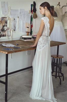 Chiffon Crystal Glamorous Lace Cap-Sleeve Lace Long Wedding Dress_3
