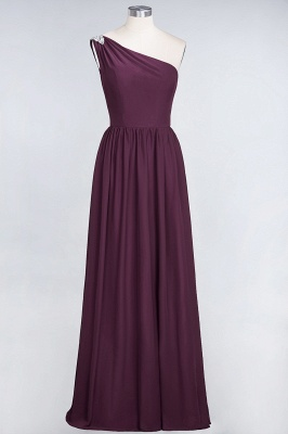 A-line Chiffon One-Shoulder Summer Ruffles Floor-Length Bridesmaid Dress UK with Beadings_1