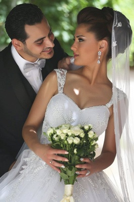 Beautiful Spaghetti Strap Crystal Ball Gown Wedding Dress New Arrival Lace Elegant Bridal Gowns_5