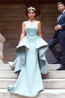 Elegant Applique Long Mermaid Strapless Bridesmaid Dress with Detachable Train_4