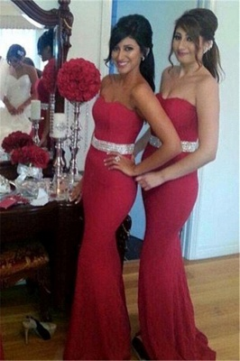 Crystal Mermaid Sweetheart Red Fornmal Dresses Gorgeous Bridesmaid Dress Cheap_2
