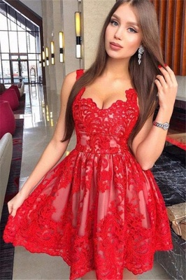 Fashion Flattering A-line Straps Appliques Elegant Lace Short Prom Dress UK on sale_2