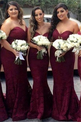 Sweetheart-Neck Mermaid Lace Long Burgundy Bridesmaid Dress_2