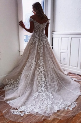 Glamorous Off-the-Shoulder Lace A-Line Wedding Dresses Sweetheart Appliques Sleeveless Bridal Gowns Online_2