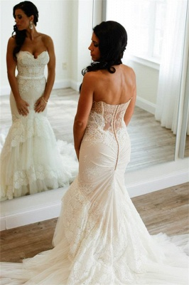 Sweetheart Appliques Buttons Elegant Tiered Tulle Mermaid Wedding Dress_2