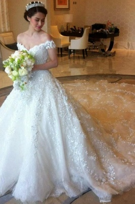 Latest Off Shoulder White Ball Gown Wedding Dress Popular Lace Court Train Bridal Gowns_1