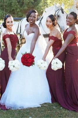 Glamorous Mermaid Lace Off-the-Shoulder Appliques Burgundy   Bridesmaid Dress_2