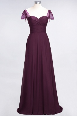 Elegant Chiffon Sweetheart Cap-Sleeves Bridesmaid Dress with Ruffles Beadings_1