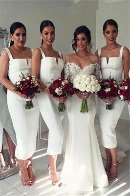 Straps White Tea Length Modest Sleeveless Bodycon Bridesmaid Dress_2