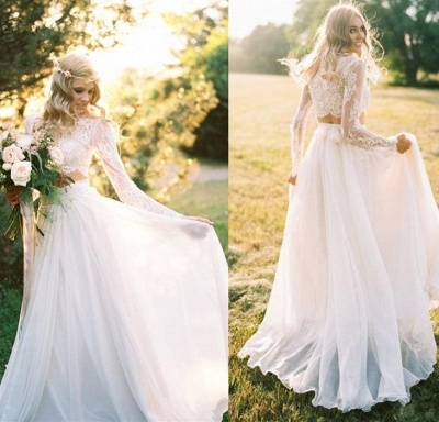 Chiffon Long-Sleeves Lace Two-Piece A-line Elegant Wedding Dresses_5