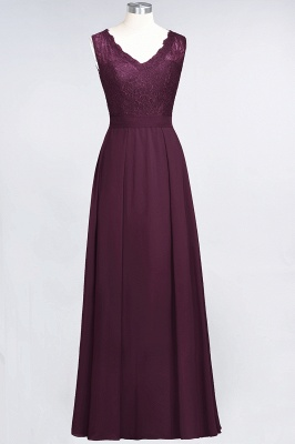 Modest Chiffon Lace Bridesmaid Dress V-Neck Sleeveless Online_1