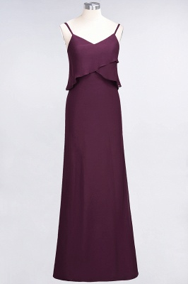 Modest Spaghetti-Straps V-Neck Mermaid Bridesmaid Dress Sleeveless Long_1