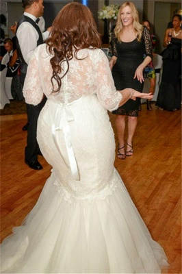 White Lace Sexy Mermaid Plus Size Wedding Dress Half Sleeve Custom Made Bridal Gown_2