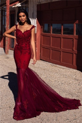 Simple Tulle Lace Mermaid Burgundy Prom Dress Straps Appliques Evening Dresses On Sale_4