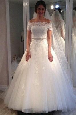 Off-the-shoulder Sweep-Train Short-Sleeves Elegant A-line Lace Wedding Dress_2