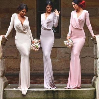 Floor Length Bodycon Evening Gowns  Long Sleeve V-neck Elegant Bridesmaid Dress_4