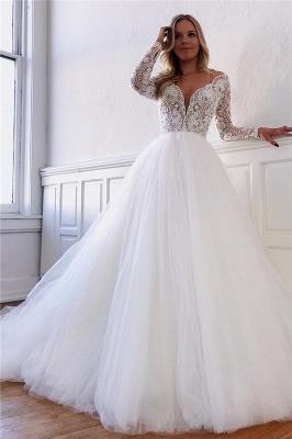 Gorgeous Lace Appliques Long-Sleeves A-Line Wedding Dresses   Bridal Gowns Online_1