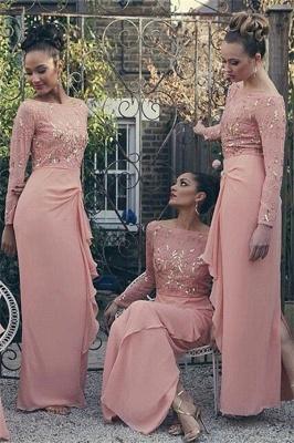 Bateau Long Sleeve Bridesmaid Dresses   Pink Chiffon Long Sexy Dress for Maid of Honor_2