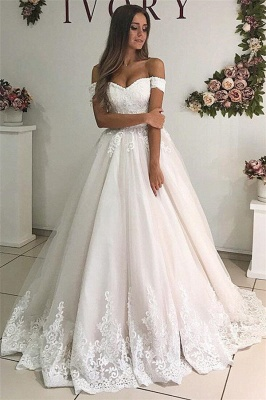 Chic Off-the-Shoulder Tulle A-Line Wedding Dresses Sexy Sweetheart Sleeveless Bridal Gowns with Appliques_1
