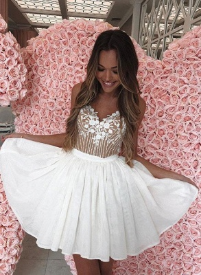 Sexy White Chiffon Spaghetti-Straps Appliques Mini Homecoming Dress_2