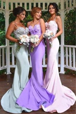 3D Floral Appliques Spaghettis Straps Formal Dress Long Elegant Mermaid Bridesmaid Dresses_2