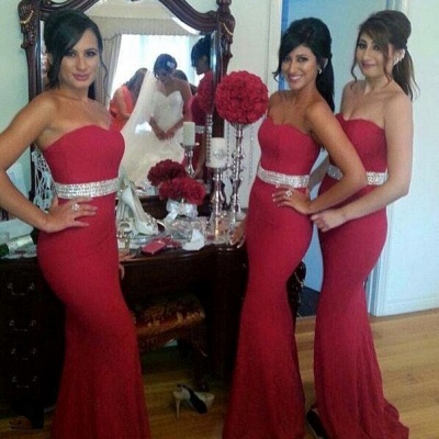 Crystal Mermaid Sweetheart Red Fornmal Dresses Gorgeous Bridesmaid Dress Cheap_3