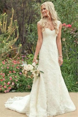 Full Lace Wedding Dresses  Cap Sleeve Mermaid Court Train Zipper Charming Bridal Gowns_1