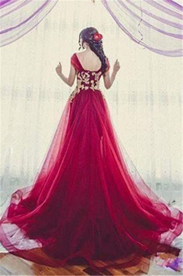 New Arrival Tulle Off-the-Shoulder A-line Appliques Bridesmaid Dress_3