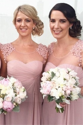 Long Pink Handmade Sheer-Neck Flowers Chiffon Bridesmaid Dresses_2