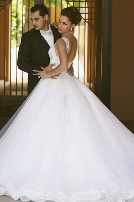Beautiful Spaghetti Strap Crystal Ball Gown Wedding Dress New Arrival Lace Elegant Bridal Gowns_3