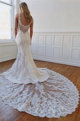 Vintage Straps Lace Crystal Mermaid Wedding Dresses Appliques Rhinestones Bridal Gowns On Sale_3