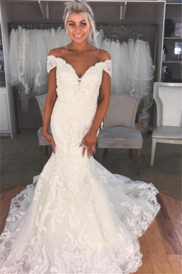 Glamorous Mermaid Off-the-Shoulder Wedding Dresses  Lace Bridal Gowns_2