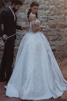 New Arrival Off-the-Shoulder Lace Wedding Dresses  Crystal Lace-Up Ball Bridal Gowns_3