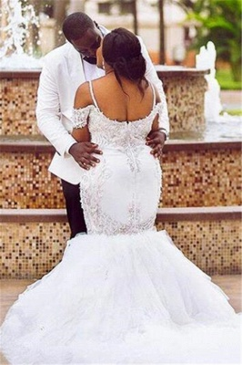 Mermaid Appliques Plus Size Bride Dress  Gorgeous Lace Cap-Sleeve Wedding Dress_3