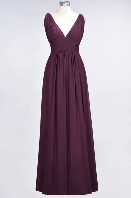Glamorous Long Chiffon Ruffles Bridesmaid Dresses V-Neck Sleeveless Wedding Party Dress_1