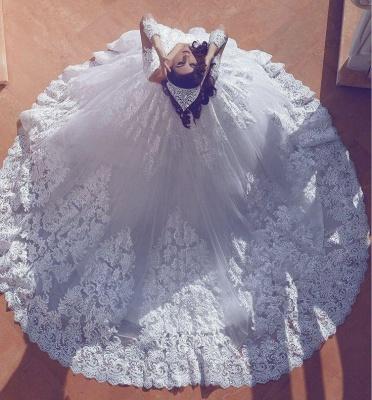 Modest Lace Long-Sleeve Court-Train Ball-Gown V-neck Wedding Dress_4