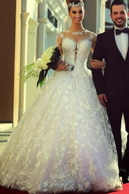 Court Train Lace Charming Wedding Dresses  Long Sleeve Bridal Ball Gowns_2