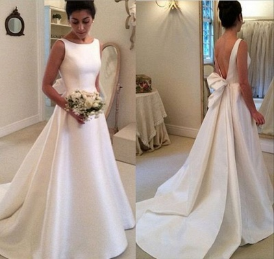 Elegant A-Line Backless Wedding Dresses Sleeveless Bowknot Sweep Train Bridal Gowns BA4237_3