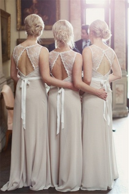 Elegant Lace Scoop Chiffon Bridesmaid Dresses With Sweep Train For Wedding Party_1