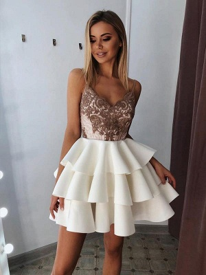 V-Neck Spaghetti-Straps Appliques A-Line Short Homecoming Dress
