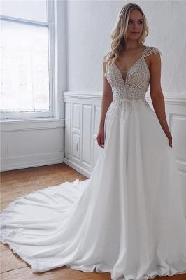 Unique Straps Beaded Appliques A-Line Wedding Dresses | Bridal Gowns Online_1